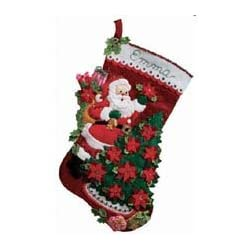Bucilla 18-Inch Christmas Stocking Felt Applique Kit Santa Poinsettia Tree