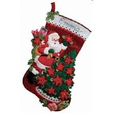 Bucilla 18-Inch Christmas Stocking Felt Applique Kit, Santa Poinsettia Tree
