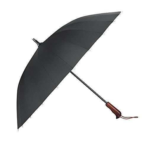 PLEMO 長傘 和風傘 高強度24本傘骨 耐風傘 改良版新強化グラスファイバー採用 超撥水&悪天候に強い ブラック 103センチ