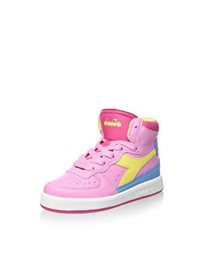 Diadora Sneaker Alta Mi Basket Ii Jr [Rosa/Giallo]