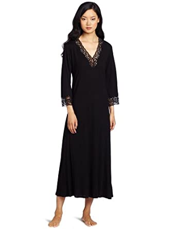 Natori Women's Lhasa Lounger Nightgown, Black With Black Lace, X-Small