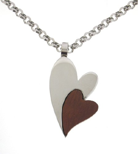 Women's Stainless Steel and Wood Double Heart Pendant Necklace , 18