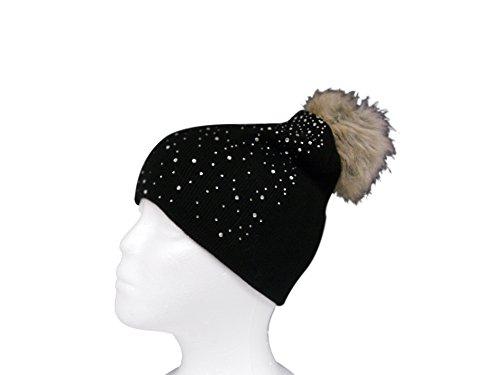 Womens Warm and Stylish Double Layer Faux Fur PomPom Beanie Hat with Rhinestone Sprakle - Black (Burgundy Felt Bonnet)