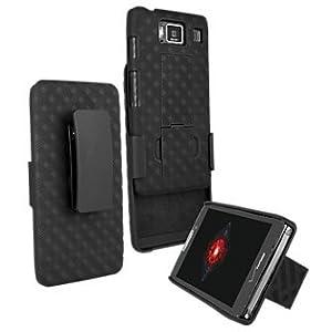 Motorola Droid Razr Hard Shell Case with Holster Combo - Black