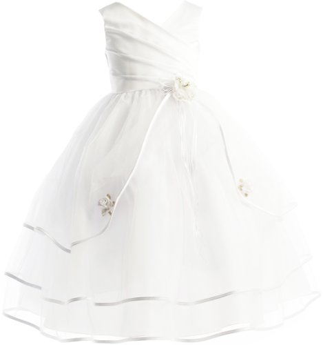 3-Tiered Organza Satin Pageant Communion Flower Girl Party Dress - White 16