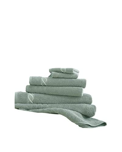 Luxury Home 6-Piece Egyptian Cotton Embroidered Chain Towel Set, Jade As You See