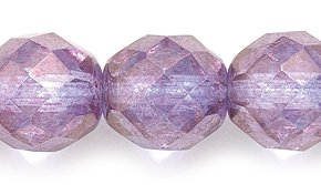 Preciosa Czech Fire 10mm Polished Glass Bead, Faceted Round, Picasso Light Amethyst, 40-Pack