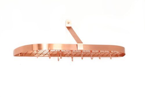 Old Dutch 121CP Satin Copper Wall Pot Rack with 12 Hooks, 36 by 9 by 10-3/4-Inch