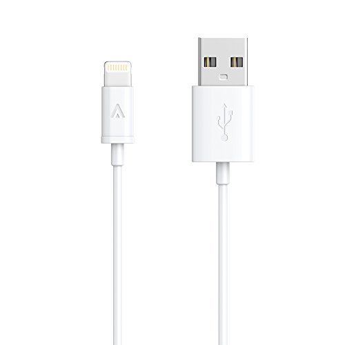 [Apple MFi Certified] Anker® Lightning to USB Cable 3ft / 0.9m with Ultra Compact Connector Head for iPhone 6 6Plus 5s 5c 5, iPad Air Air2 mini mini2 mini3, iPad 4th gen, iPod touch 5th gen, and iPod nano 7th gen (White)