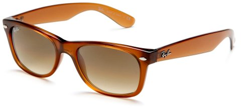 Ray-Ban RB2132 New Wayfarer Sunglasses,Light Brown Frame/Brown And Blue Lens,55 mm