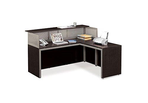 Espresso Laminate Reception L-Desk with Right Return - At Work Collection (Laminate Reception Desk Espresso compare prices)