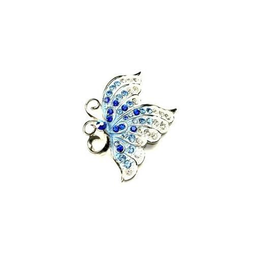 Blue & Clear Austrian Rhinestone Butterfly Silver Tone Brooch Pin