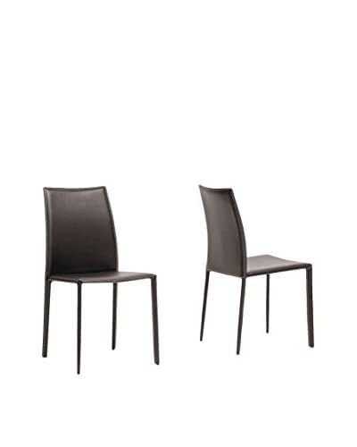 Baxton Studio Leather Dining Chair, Brown