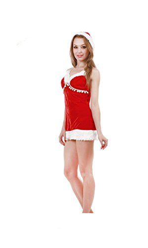 JUNPAI Women's Velve Santa Dress Red 211