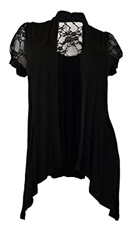 eVogues Plus Size Laced Black Open Front Cardigan - 1X
