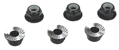4mm Aluminum Serrated Lock Nuts, Black (6)
