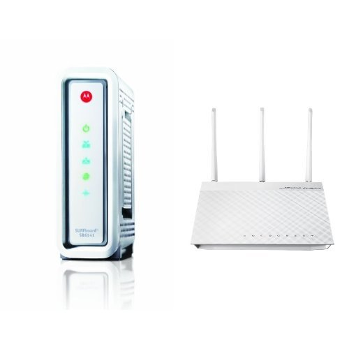 ARRIS / Motorola SurfBoard SB6141 DOCSIS 3.0 Cable Modem and ASUS RT-N66W Dual-Band Wireless-N900 Gigabit Router image