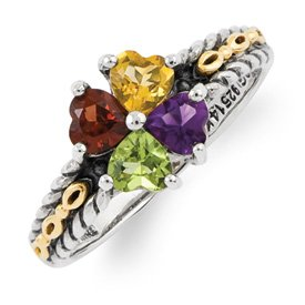 Genuine IceCarats Designer Jewelry Gift Sterling Silver & 14K Four-Stone Mother's Ring Mounting Size 10.00
