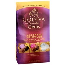 Godiva Chocolatier Gems Assorted Truffles Dark - Milk - White Chocolate (Pack of 3) 4.25 Ounce Bags