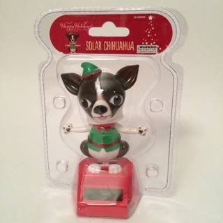 Happy Holidays Solar Powered Dancing Chihuahua Elf In Green Color Christmas Cloth. (Solar Powered Dancing Groot compare prices)