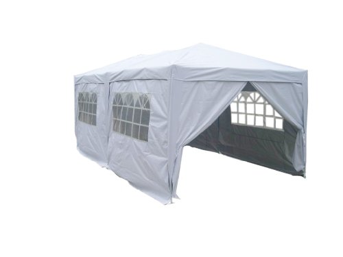 3m x 6m Silver Easy Pop-Up heavy duty Steel Outdoor party tent Gazebo with sidewalls