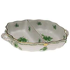 Herend Chinese Bouquet Green Two Section Hors Doeuvre Dish