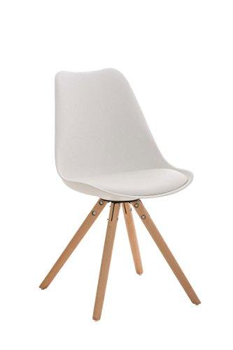 CLP Design Retro Stuhl PEGLEG mit Holzgestell natura, Materialmix aus Kunststoff, Kunstleder und Holz, bis zu 5 Farben wählbar weiß