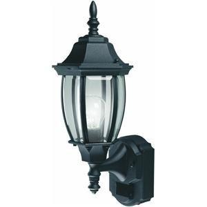 Heath Zenith SL-4192-BK Six-Sided Die-Cast Aluminum Lantern, Black with Beveled Glass