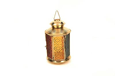 Hexagonal 7 Inches Hanging Candle Holder In Brass With Glass Panels In Exotic Hues