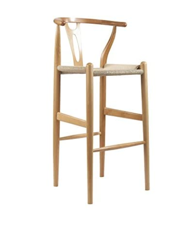 Baxton Studio Mid-Century Modern Wishbone Wood-Y Stool, Natural As You See