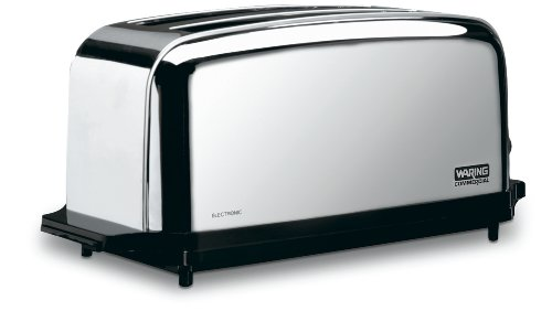 Waring Commercial Wct704 Light Duty Chrome Plated Steel 4-Slice Toaster With 2 Slots