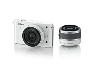 Nikon 1 J1 10.1 MP HD Digital Camera System with 10mm and 10-30mm VR 1 NIKKOR Lenses (White)