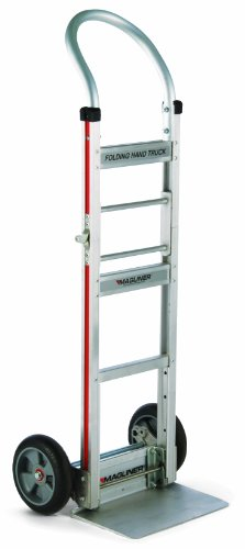 Magline FTA19E1AL Aluminum Straight Back Folding Hand Truck, No 19 Handle, Cushion Wheels, 500lbs Capacity, 49