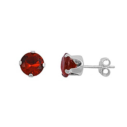 .925 Sterling Silver Padparadsha Color Round Cz Stud Earrings (8)mm