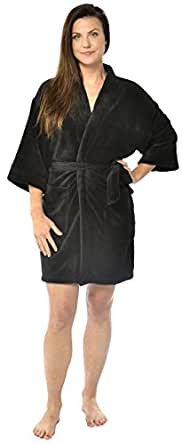 Leisureland Women's Plush Microfiber Fleece Kimono Short Robe Black