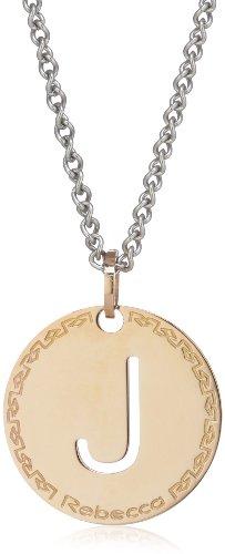 """Rebecca Word-Catenina con pendente a forma di lettera """"J"""" in bronzo e acciaio INOX"""