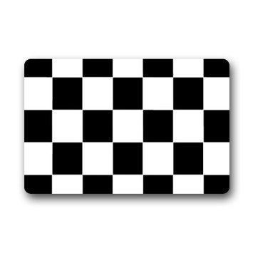 "LOVELIFE Custom Black White Checkered Pattern Non Slip Doormat Floor Mat Decor Mat Rug- 18""(L) X 30""(W) Thickness"