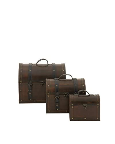Set of 3 Wood and Faux Leather Boxes, Dark Brown