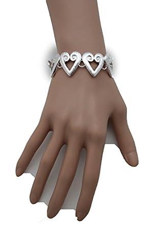 TFJ Women Fashion Jewelry Wrist Metal Charms Narrow Bracelet Classic Circles Round Silver Color