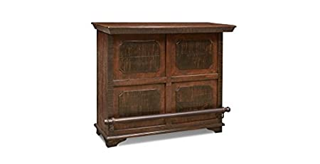 Crafters & Weavers Rustic Reclaimed Painted Solid Wood Bar with Wine Cabinet and Metal Foot Rail