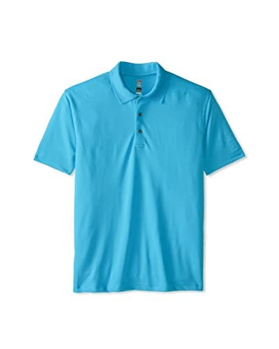 PGA TOUR Men's Short Sleeve Solid Double Knit Eyelet Mesh Polo  [Vivid Blue]