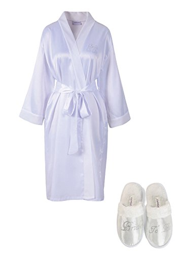 White Rhinestone Bride To Be Satin Bridal Dressing Gown & Spa Slipper wedding Personalised hen party gift set