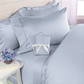 Solid Blue 300 Thread Count Attached Queen Size Waterbed Sheet Set 100% Egyptian Cotton By Sheetsnthings front-1006360