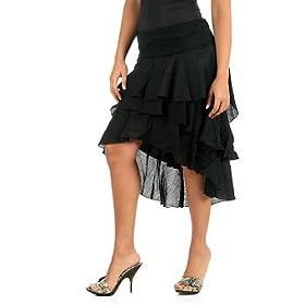 Women's Asymmetrical Tiered Woven Skirt
