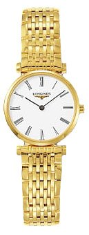 Longines La Grande Classique White Dial Yellow Gold Pvd Ultra Thin Women's Watch