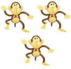 Set of Three Adorable Inflatable 27'' MONKEYS ZOO Party Favor Decor Jungle Animals Birthday