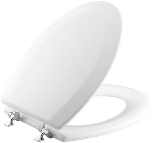 KOHLER K-4722-T-0 Triko Elongated Molded-Wood Toilet Seat with Polished Chrome Hinges, White (Toilet Seat Cover Chrome compare prices)