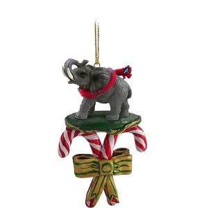 ELEPHANT CANDY CANE ORNAMENT