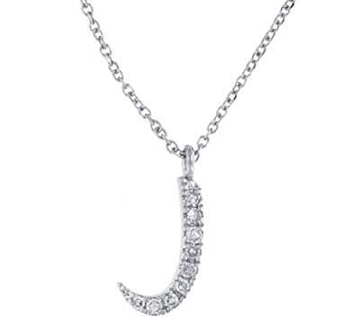 "Carissima 9ct White Gold 0.04ct Diamond 'J' Pendant on Adjustable Chain Necklace 38cm/15""- 41cm/16"""
