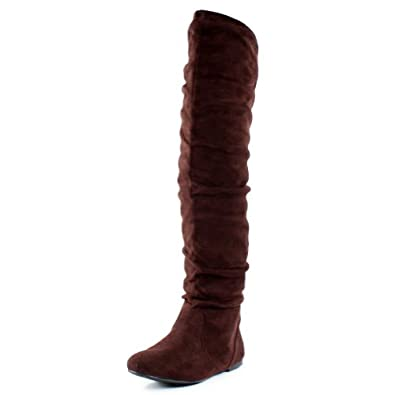 6ac7a23154c9f West Blvd Womens BANGKOK THIGH HIGH Boots Over The Knee Flat Heels ...